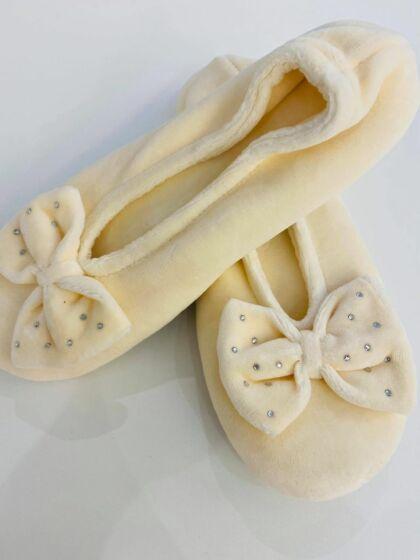 Isotoner Ballerina Velours Ivoire