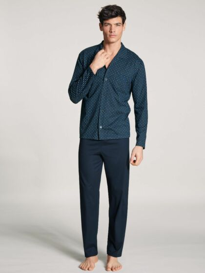 Calida Relax Imprint Doorknoop Pyjama l/s ParBlue