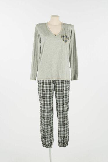 Twinset Pyjama l/s Check Grigio Melange