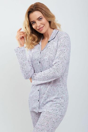 Moonka Cachemire Doorknoop Pyjama l/s
