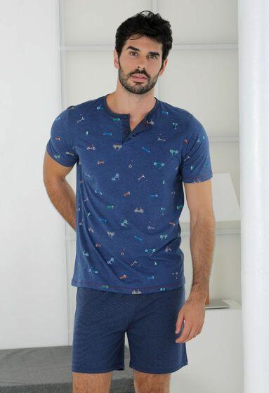 Massana Short Pyjama s/s Jeans Blue