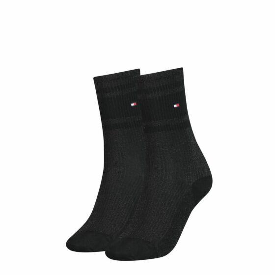 Tommy Hilfiger Women Lurex Rib Sock 2P Black Combo