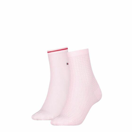 Tommy Hilfiger Women Short Sock Waffle 2P Pink