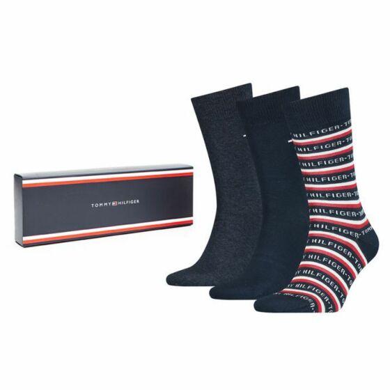 Tommy Hilfiger Men Sock 3P Logo Giftbox Dark Navy